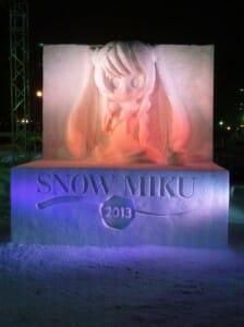 The Sapporo Snow MIku sculpture from 2013.  Photo Credit: Hachima Kikō