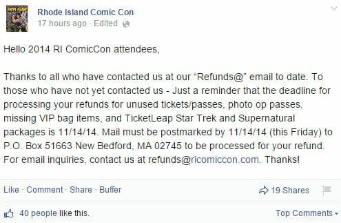 RI Comic Con Final Refund Deadline Announcement