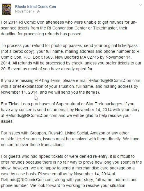 RI Comic Con Initial Refund Deadline Announcement