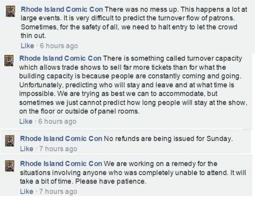 RI Comic Con's social media responses have been lacking, to say lightly.