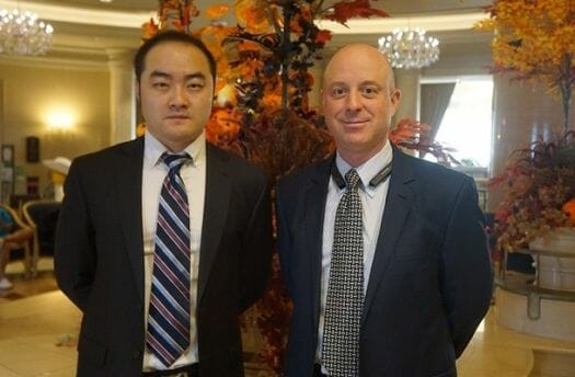 Crunchyroll CEO Kun Gao (Left) stands with Crunchyroll General Manager Vince Shortino (Right)