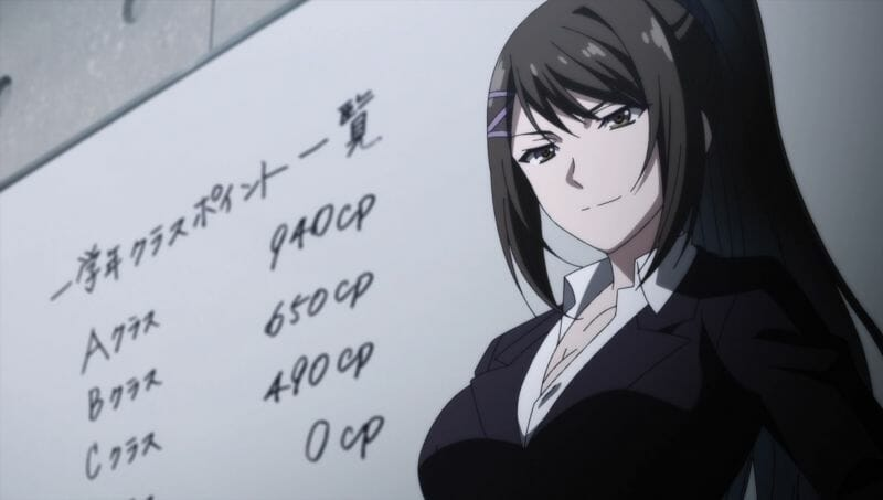 Classroom of the Elite still - a teacher stands next to a whiteboard, which has numbers scribbled on it.