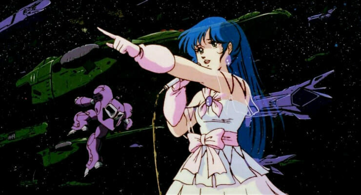 Still from Macross: Do You Remember Love? which features Lynn Minmay posing against flying mecha.