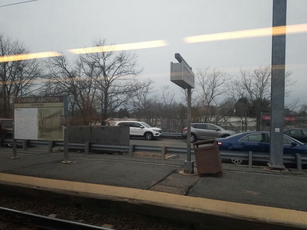Anime Boston 2019 - Day Zero - A shot of the Canton Junction stop from the commuter rail toward Boston