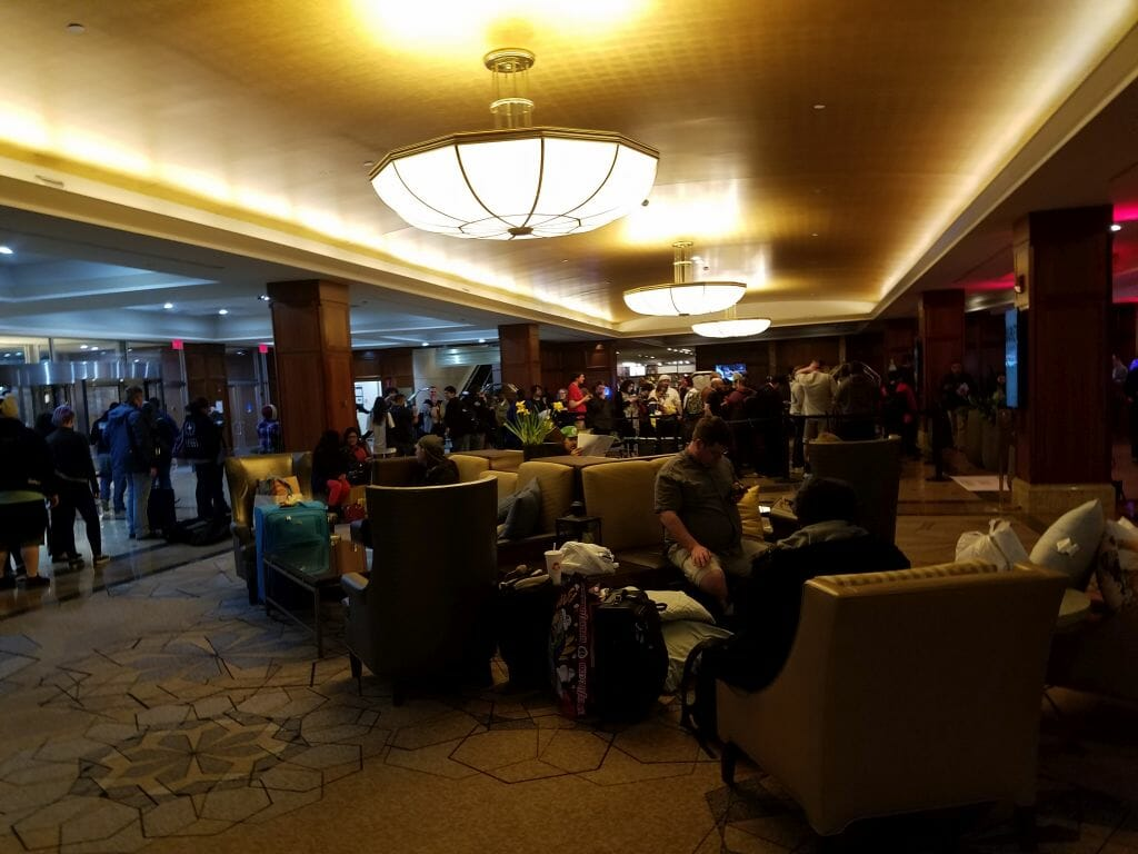 Anime Boston 2019 - Day Zero - The check-in line for the Sheraton Hotel