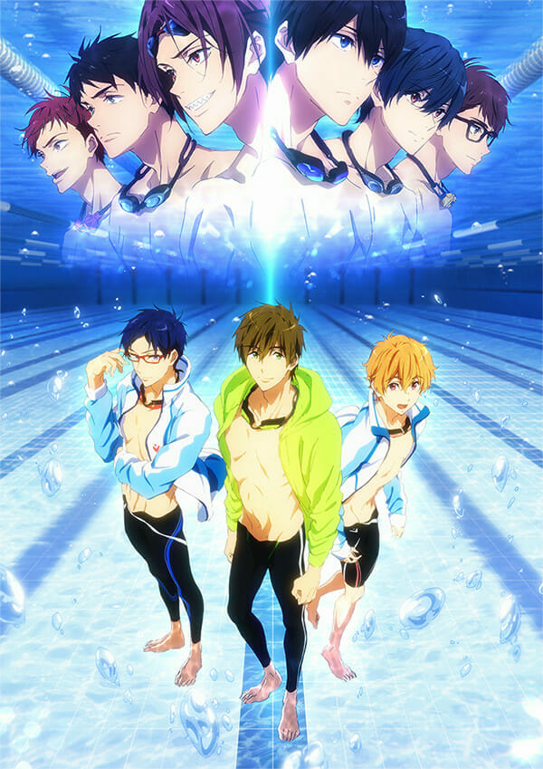 Free! ~Road to the World~ Yume visual. The image features Rei, Nagisa, and Haruka standing at the bottom of a pool. The headshots of the Iwatobi Swim Team can be seen above.