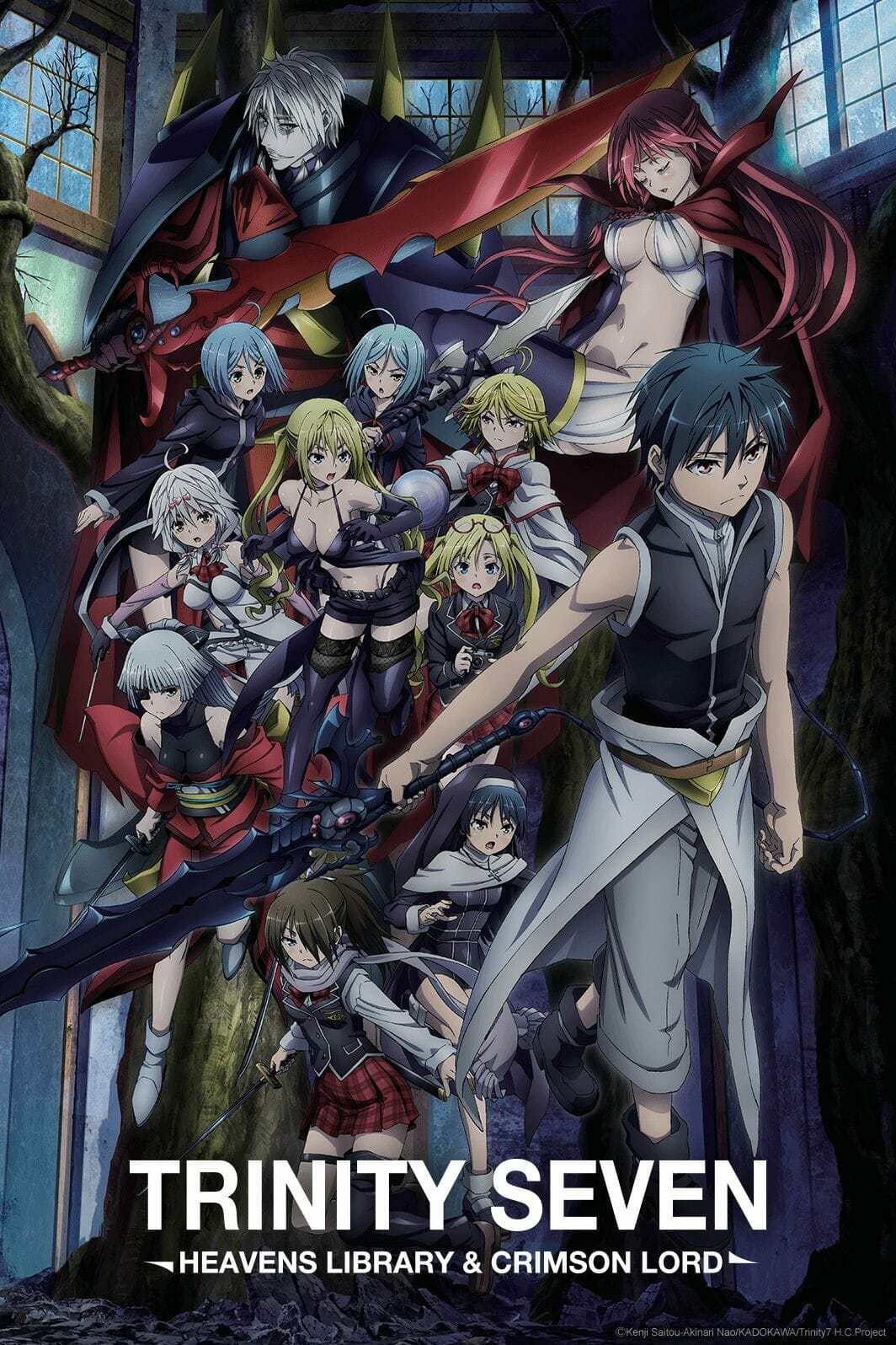 TRINITY SEVEN HEAVENS LIBRARY and Crimson Lord Anime Film Visual