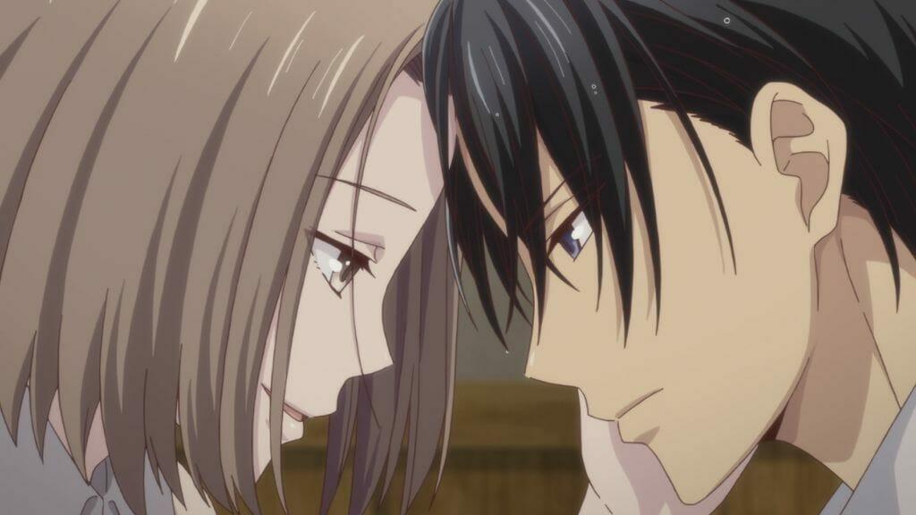 Fruits Basket (2019) Episode 7 Still: Hatori Soma and Kana Soma gaze lovingly into each others' eyes.