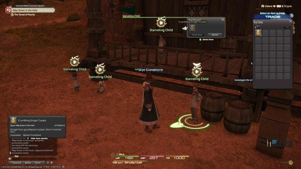 Skye Grandeterre, a Duskwight Elezen, delivers Ginger Cookies at the Coffer & Cabin in Final Fantasy XIV