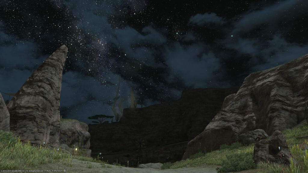 A shot of the night sky in Central Thanalan in Final Fantasy XIV