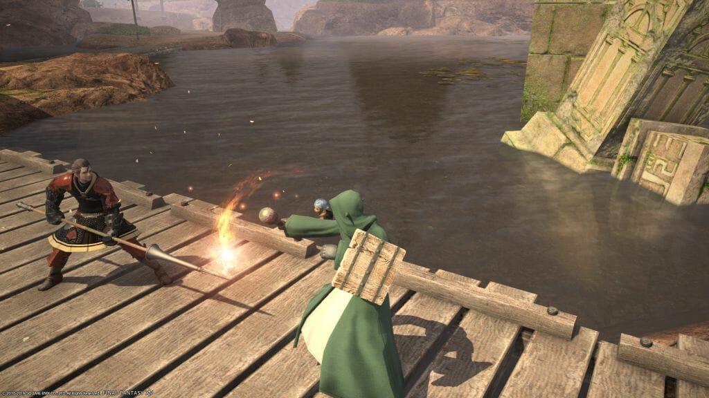 Skye Graneterre, a Duskwight Elezen, battles Captain Baldewyn in Final Fantasy XIV