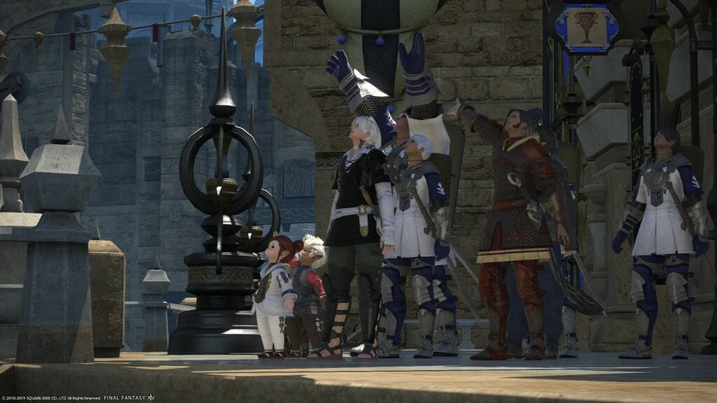 The Sultansworn wave toward a departing airship in Final Fantasy XIV