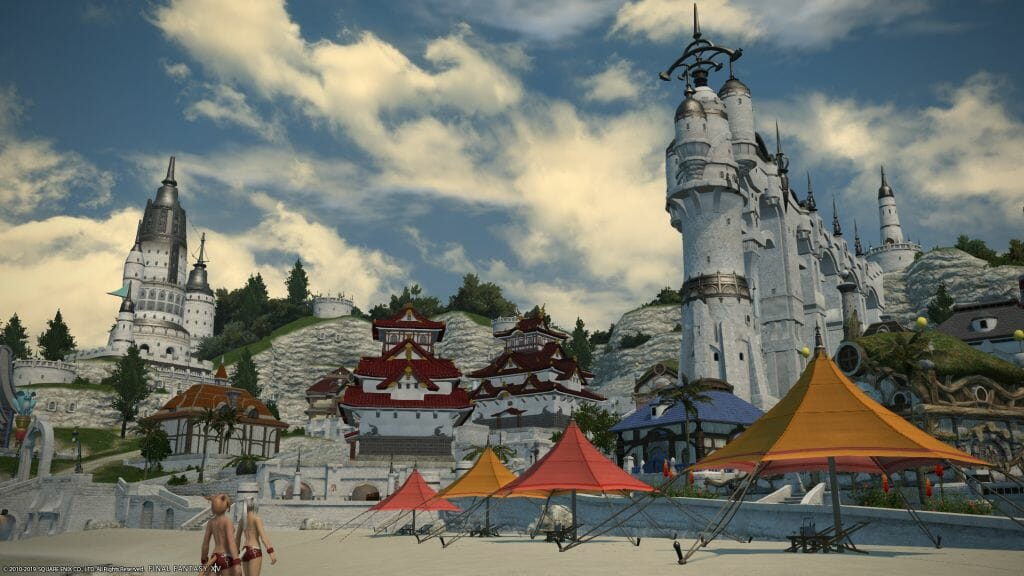 Landscape shot of the Mist Residential District in Final Fantasy XIV