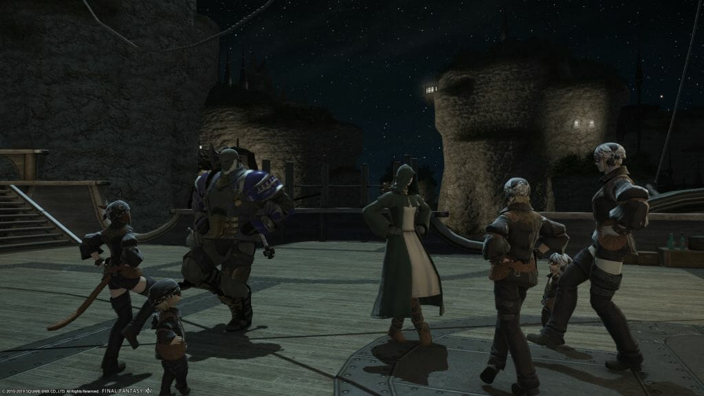 Skye Graneterre, a Duskwight Elezen, dances with pirates in Final Fantasy XIV