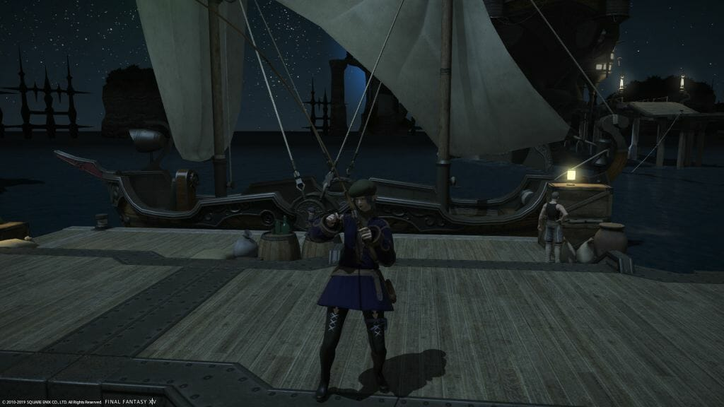 Skye Graneterre, a Duskwight Elezen, fishes on the docks of Limsa Lominsa in Final Fantasy XIV