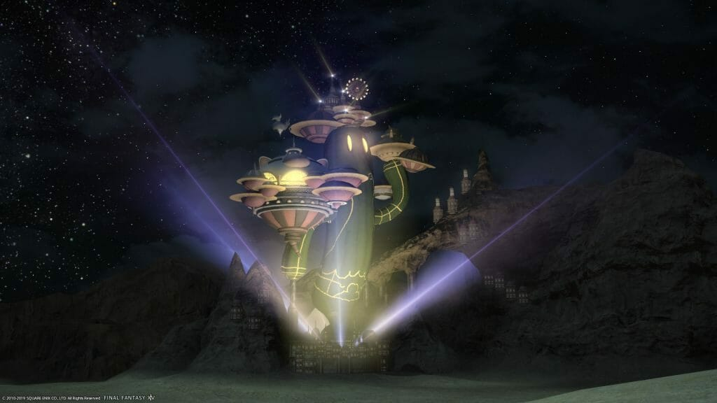 Exterior shot of the Gold Saucer in Final Fantasy XIV