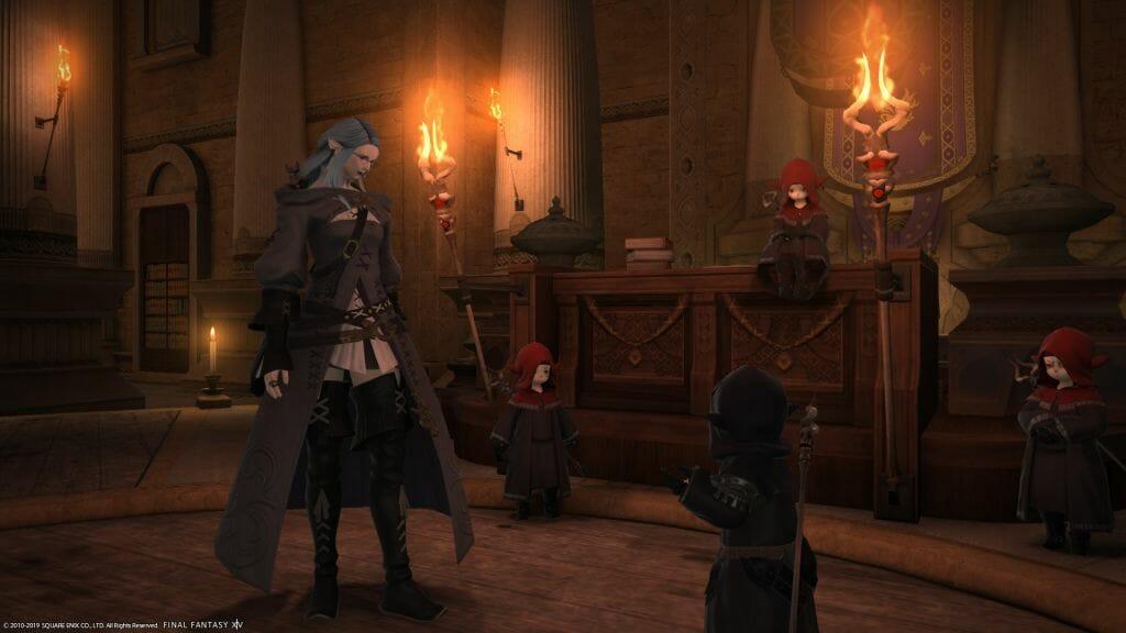 Skye Graneterre, a Duskwight Elezen, consults with the leaders of the Thaumaturgy Guild in Final Fantasy XIV