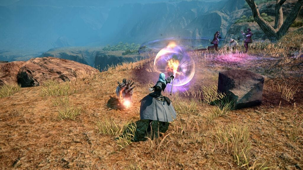 Skye Graneterre, a Duskwight Elezen, battles undead warriors in Final Fantasy XIV