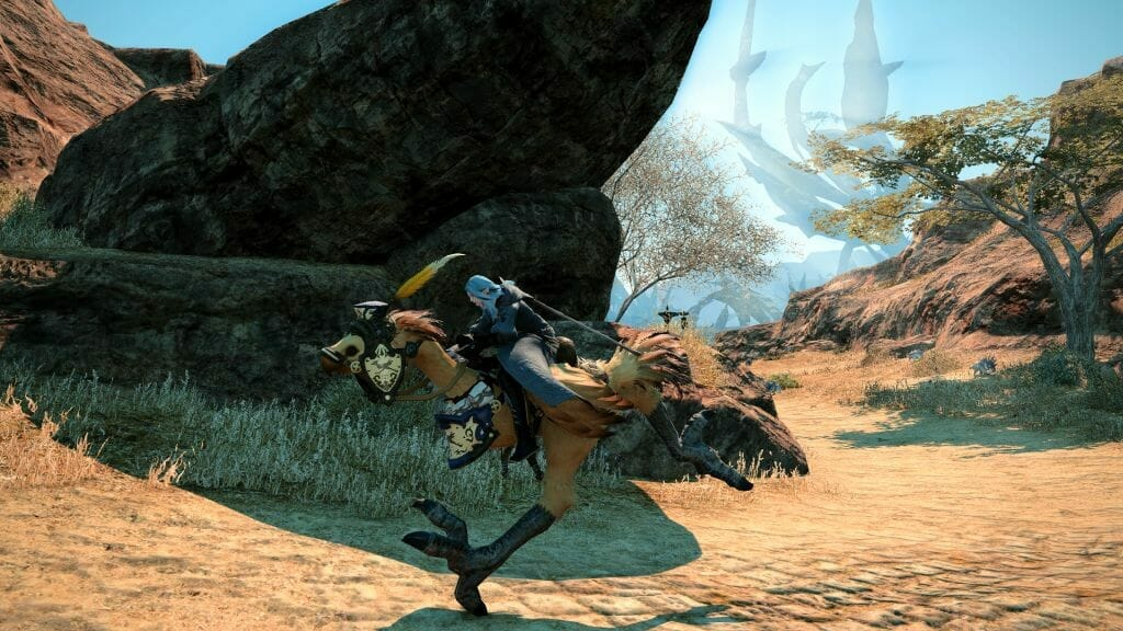 Skye Graneterre, a Duskwight Elezen, rides a rented chocobo in Final Fantasy XIV