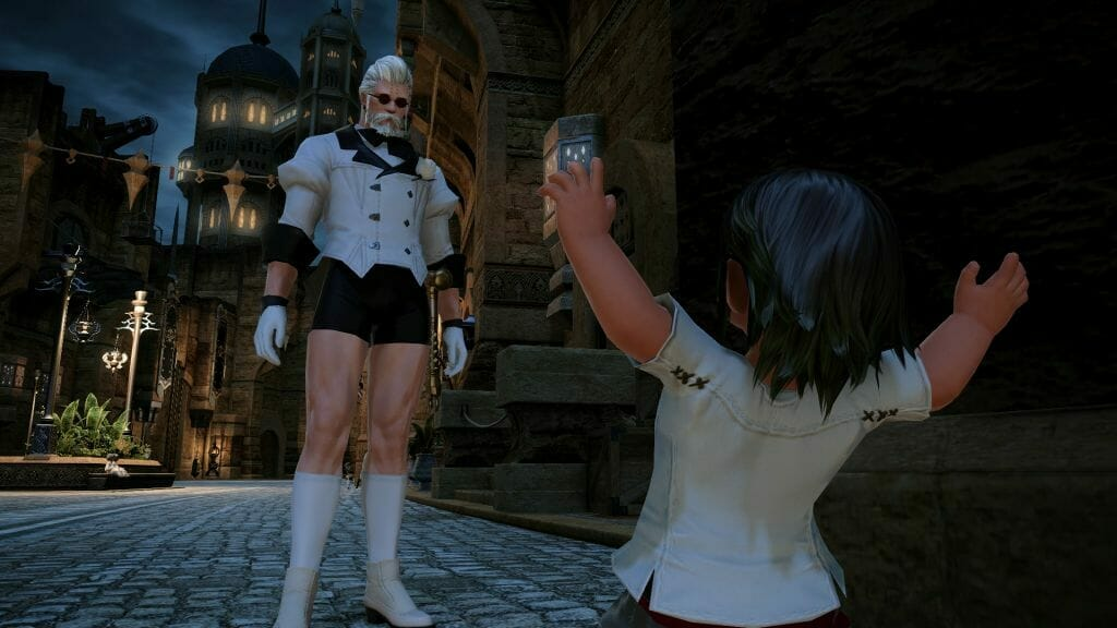 Mr. Manderville looms before a surprised Nanaphon in Final Fantasy XIV