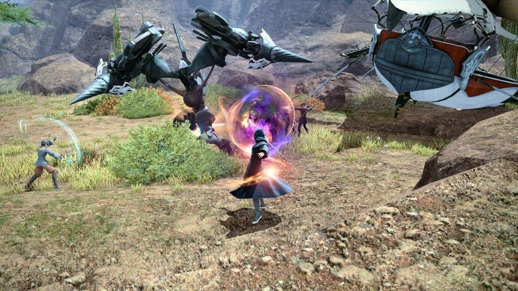 Skye Grandeterre, a Duskwight Elezen, battles a giant robot in Western Thanalan in Final Fantasy XIV