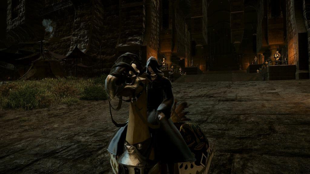 Skye Grandeterre, a Duskwight Elezen, sits mounted on a chocobo in Final Fantasy XIV