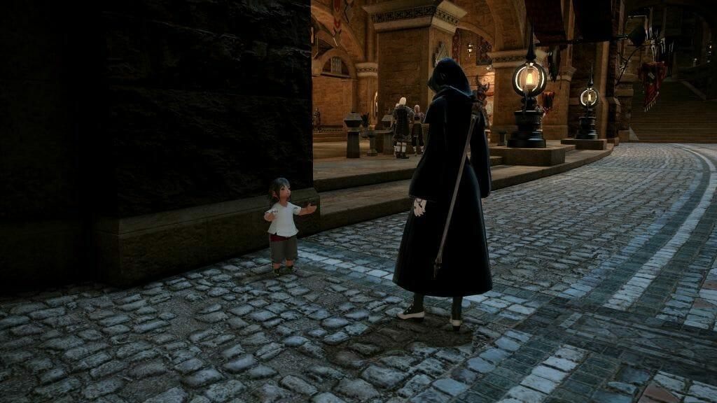 Skye Grandeterre, a Duskwight Elezen, speaks with the Lamenting Lalafell in Final Fantasy XIV