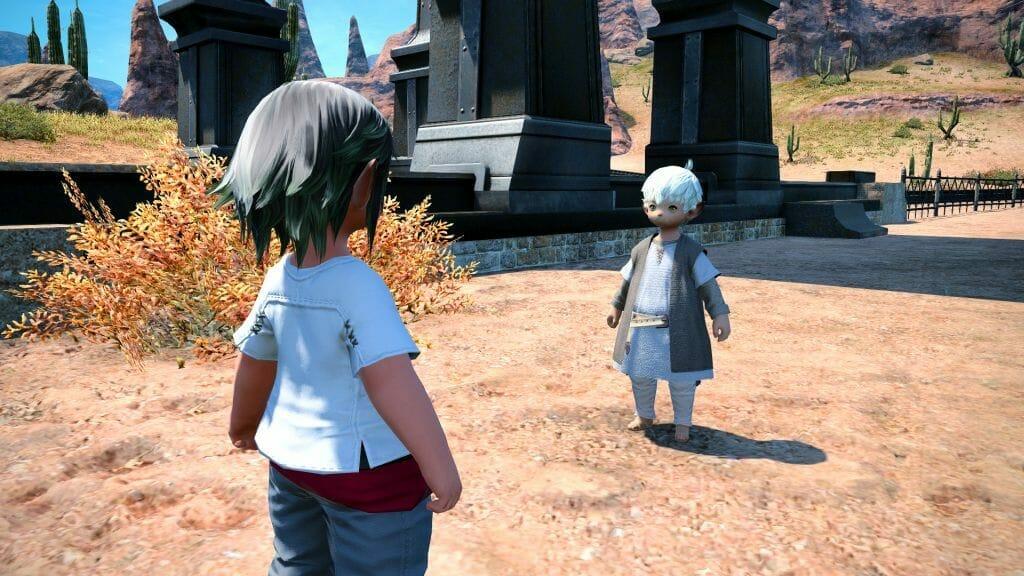 Nanaphon greets Ririzan, the first Senor Sabotender, in Final Fantasy XIV