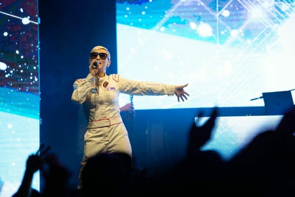 m-Flo performs at Otaquest 2019 at L.A. Live