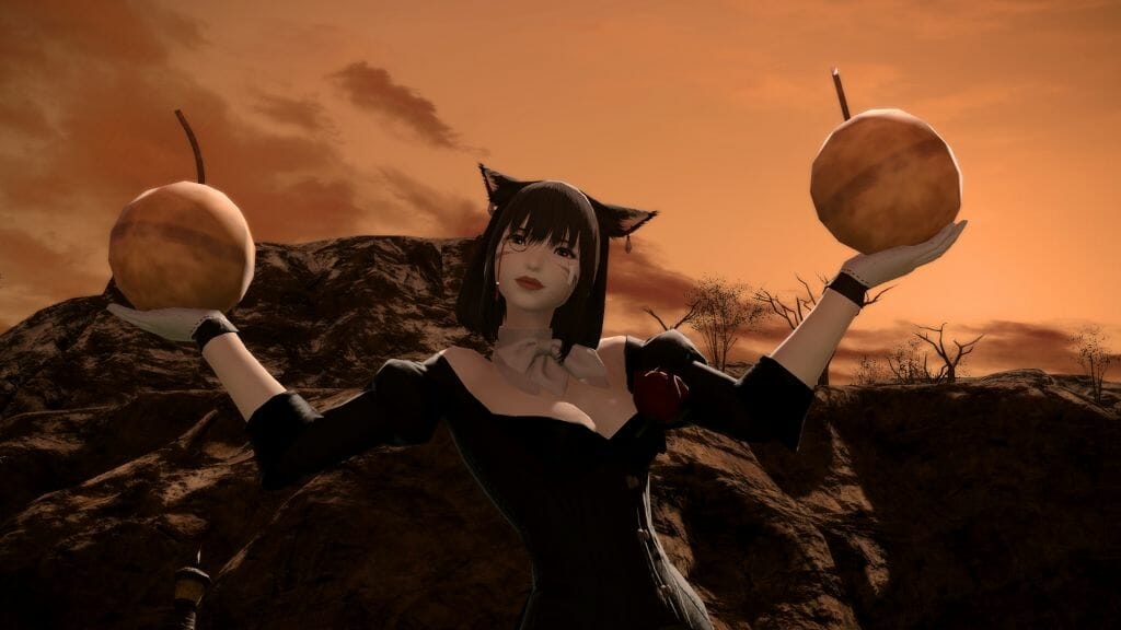 Nashu Mhakaraka poses with two bombs in Final Fantasy XIV