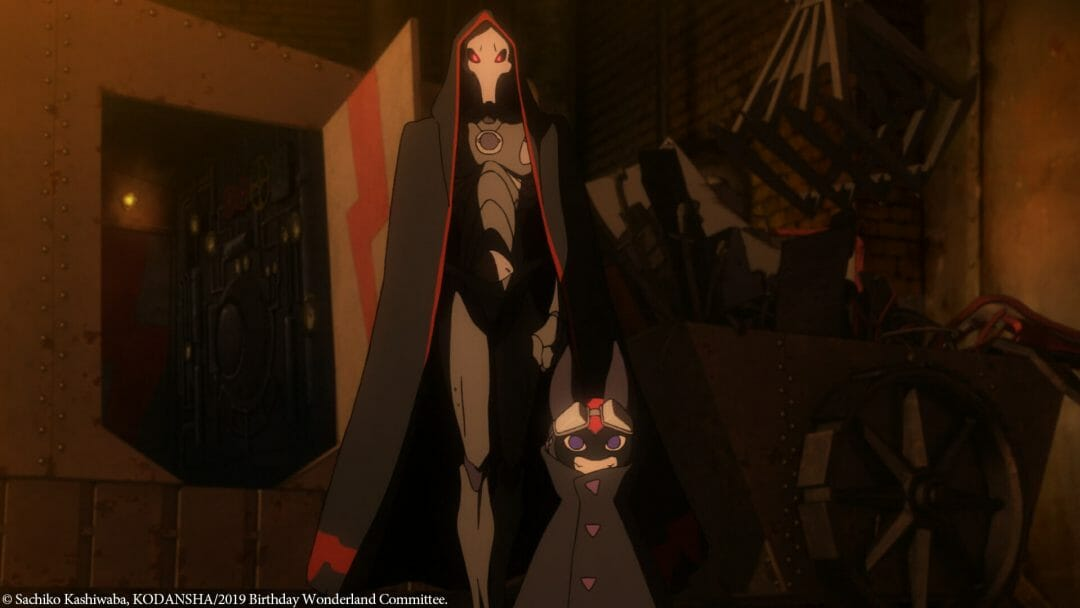A man in a black skull mask and dark armor and a bipedal cat creature stand in a dimly lit room. A door shaped like an emblem is open behind them.
