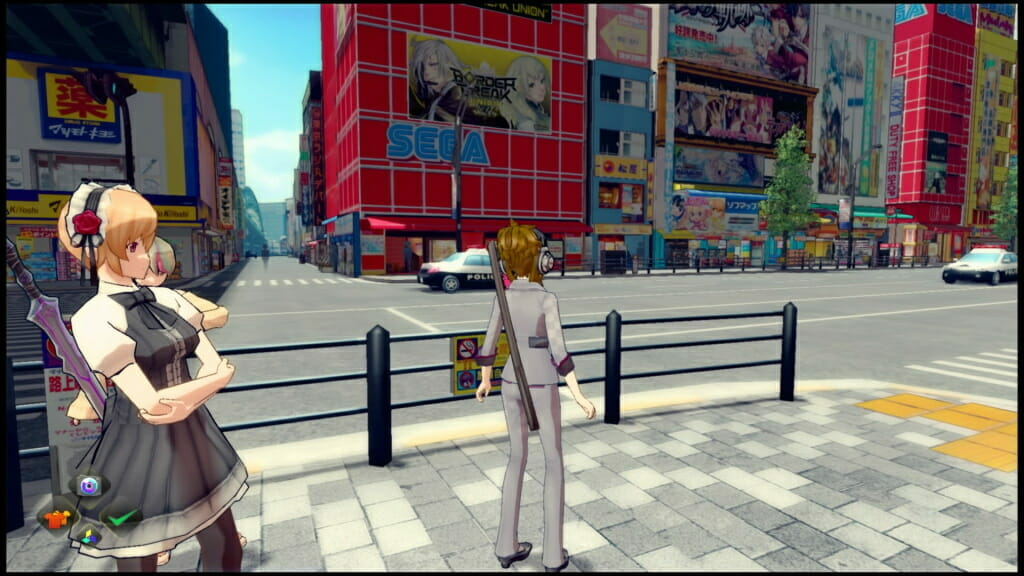 Akiba's Trip PS4 Screenshot - A woman in a grey suit passes by a SEGA game center.