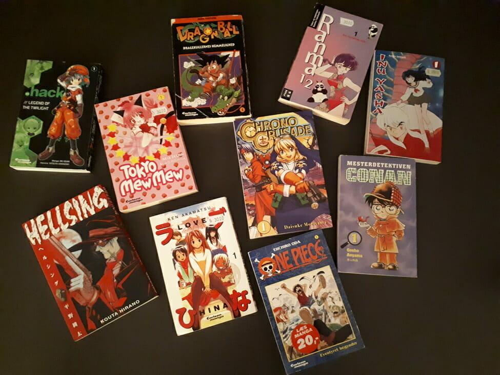 Ten Danish editions of popular manga titles, including Dragon Ball, Hellsing, Ranma, and .hack.