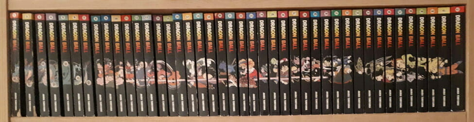 A photo depicting a complete run of the Dragon Ball manga's Danish editions.