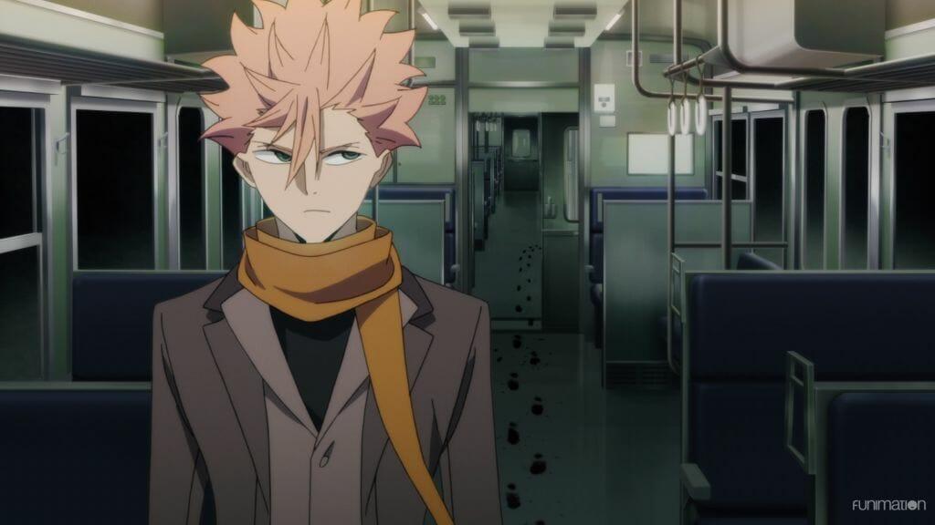 Id Invaded Episode 006 Still - Sakaido, a man with pink hair, walks through an empty train car.