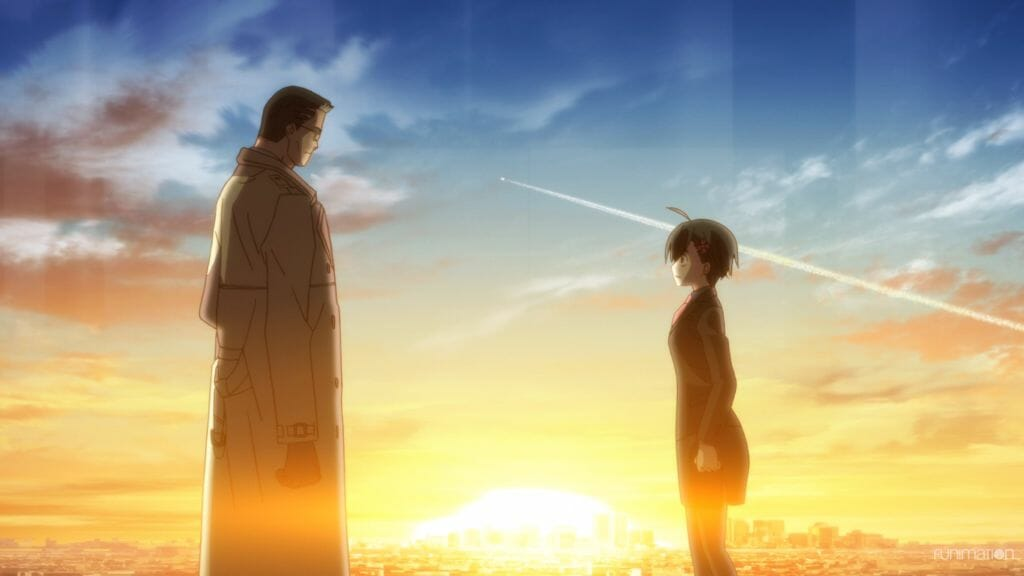 Id Invaded Episode 006 Still - Hondomachi and her partner stand in front of a cityscape at sunrise. Hondomachi has a look of shock, as a plane flies by behind them.