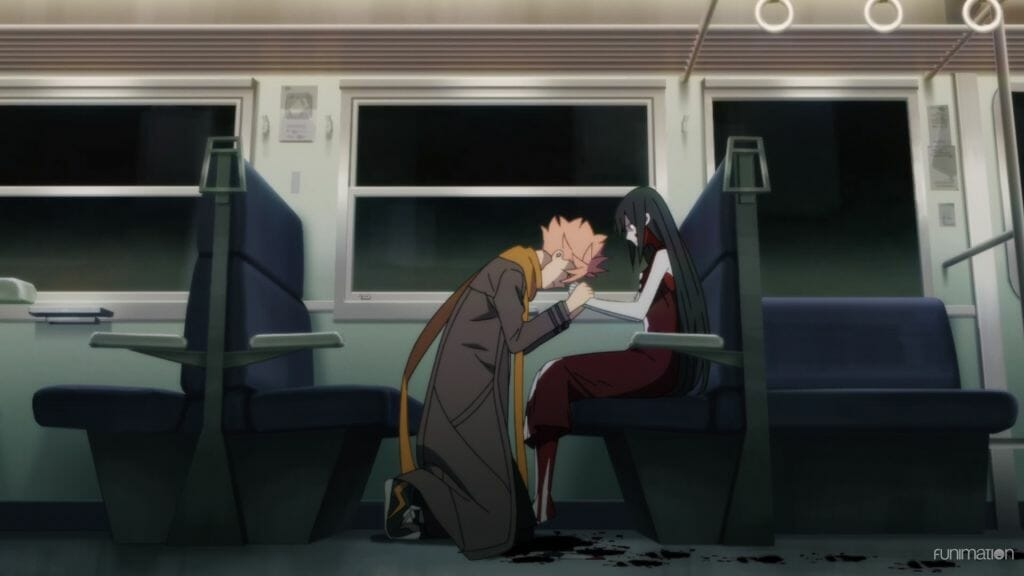 Id Invaded Episode 006 Still - Sakaido, a man with pink hair, kneels before a bloodied corpse who is sitting in a train seat.