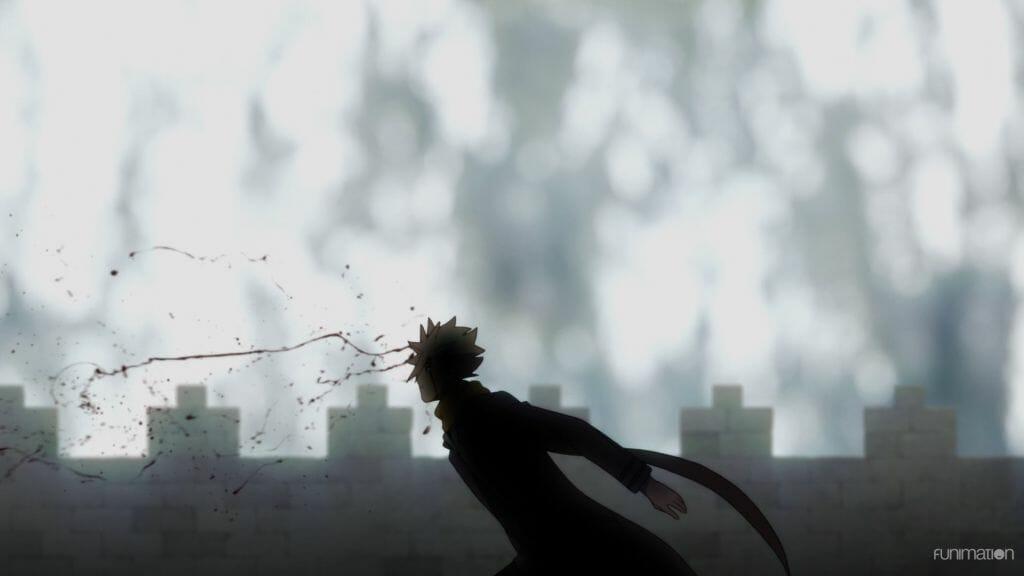 Id Invaded Episode 3 Still - Sakaido slumps forward as a bullet travels through his head, a spray of blood can be seen on the left side of the frame.