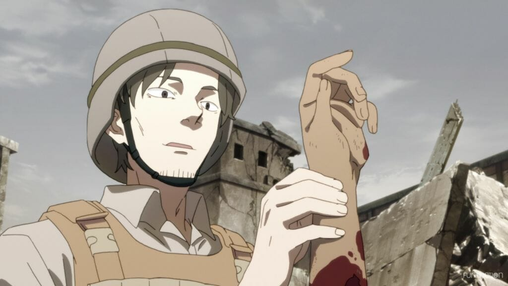 Id Invaded Episode 3 Still - Momoki stands in combat gear, holding a severed hand.