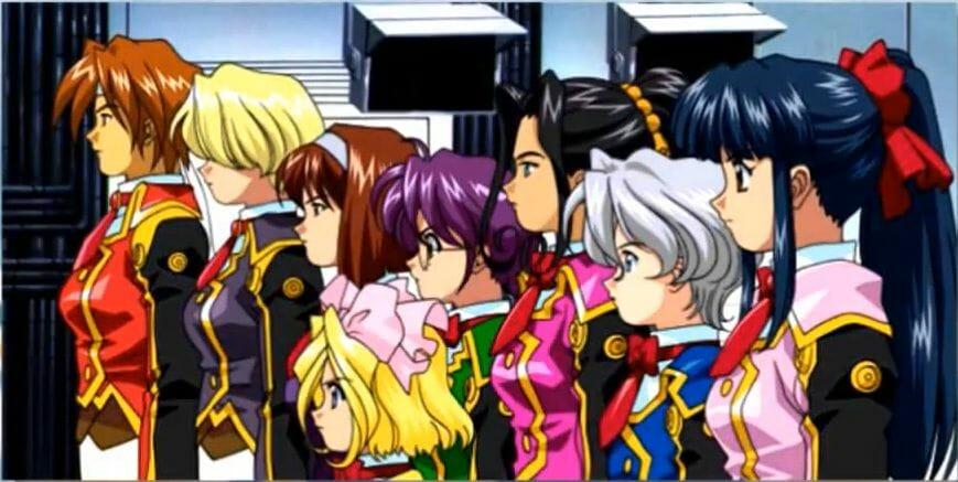 Sakura Wars 2 Still - Eight women in military uniforms stand at attention.