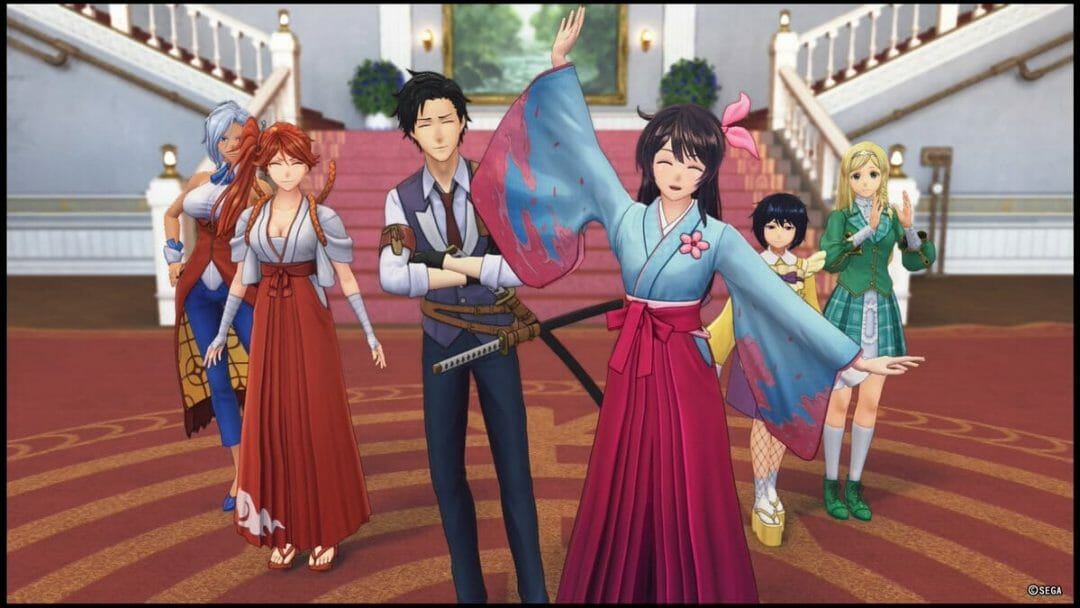 Sakura Wars 2019 Still - Five women and a man stand at the entrance to the grand Imperial Theater. The front girl, a brunette, waves as she smiles.