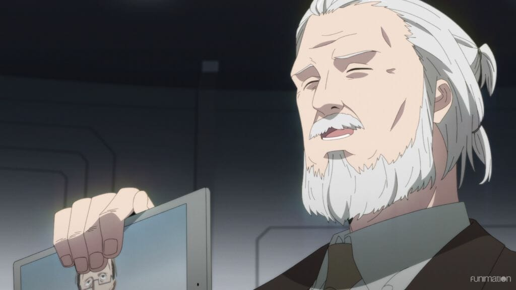 ID: Invaded anime still. An old man with a beard and ponytail holds up a tablet.