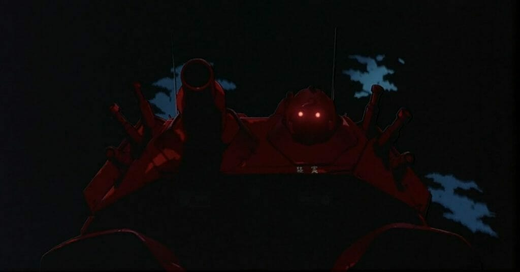 Patlabor Movie Still - a dark outline of a robot, whose red eyes glare toward the camera.