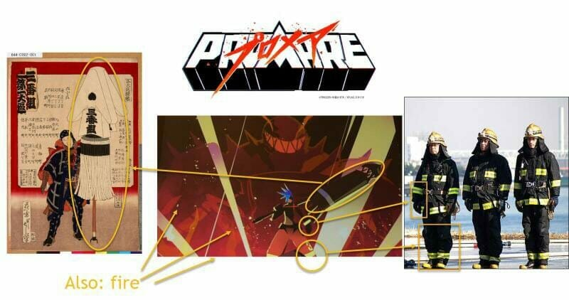 Fan-made visual that links PROMARE's images to Japanese firefighters