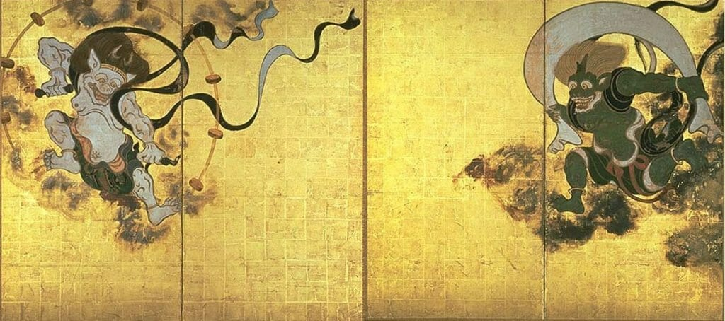 Wind God and Thunder God - a image that depicts ancient Japanese gods Fujin and Raijin.