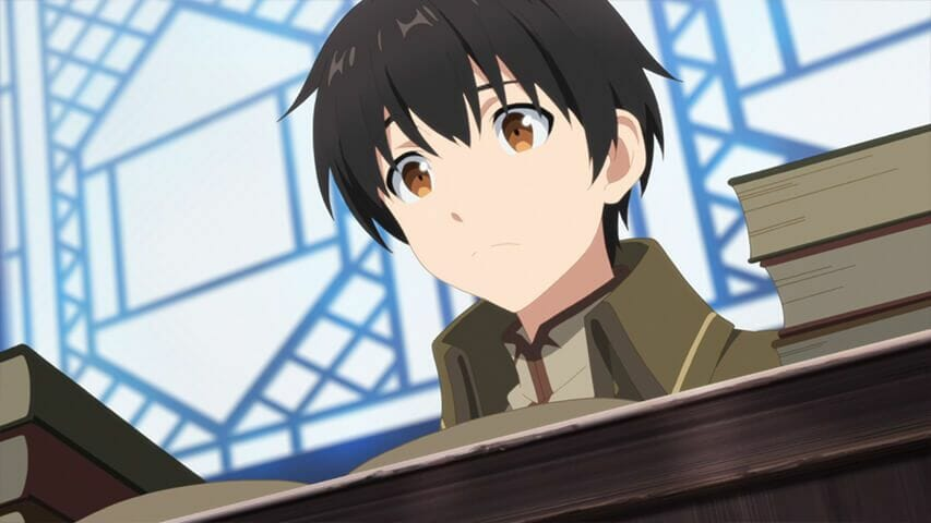 Arifureta Anime Still - A young man looks down at the camera from behind a desk.