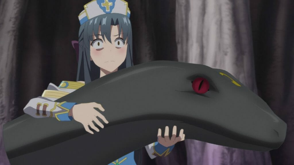Arifureta Anime Still - a blue-haired woman with a stunned expression holds a gigantic black snake.