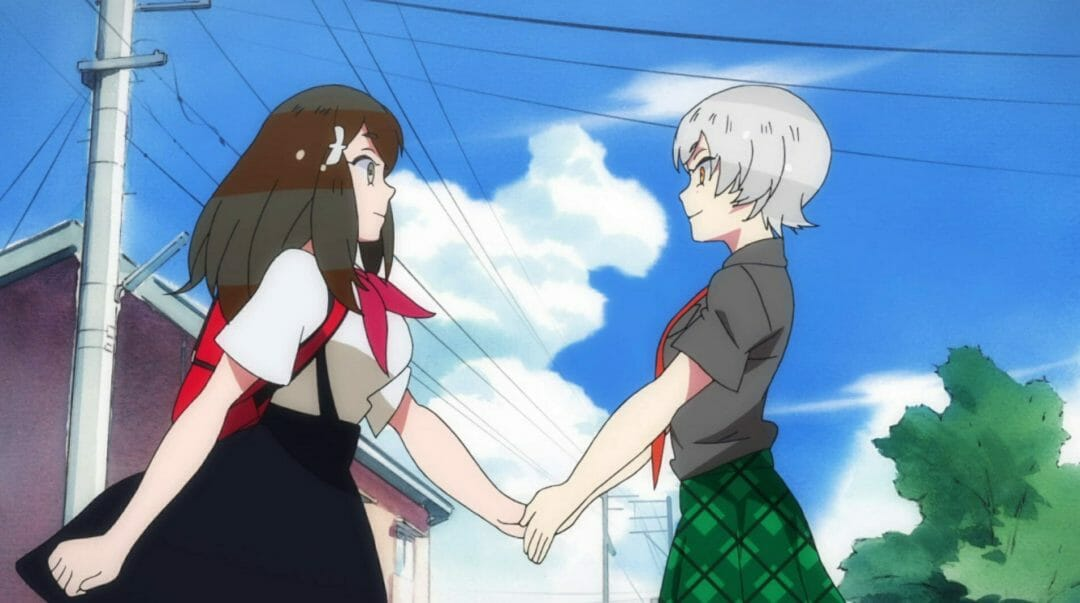 Gatchaman Crowds Insight Still - A silver-haired girl shakes hand with a brunette girl who's wearing a white top with a red scarf.
