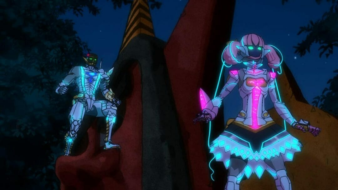Gatchaman Crowds Still - two robotic superheroes stand on a metal structure.