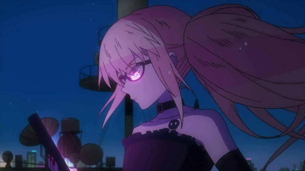 Gatchaman Crowds: A person with long pink hair and a dress looks wistfully at a tablet computer.